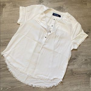 Francesca's button up raw hem blouse